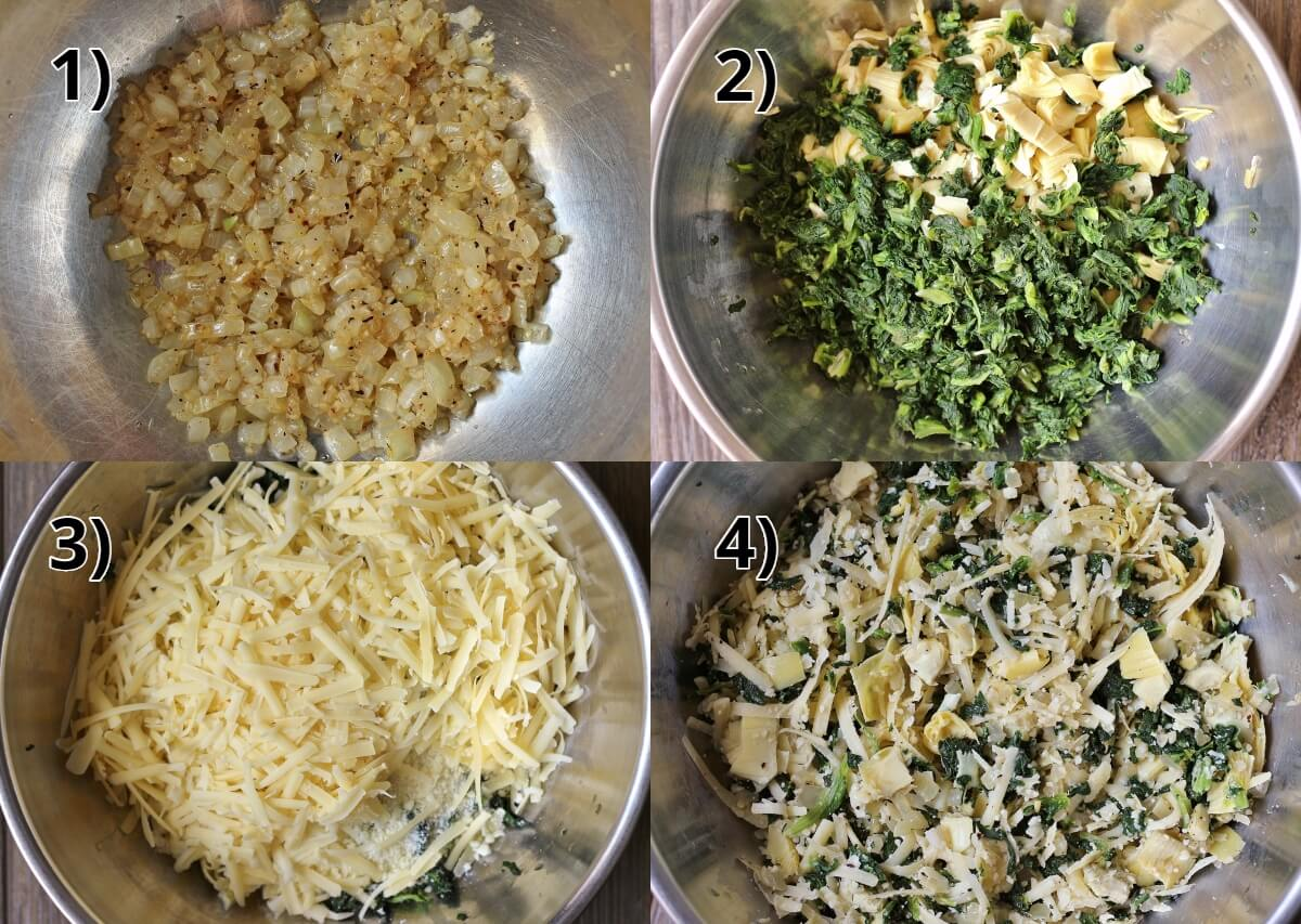 step by step photos of making spinach and artichoke filling