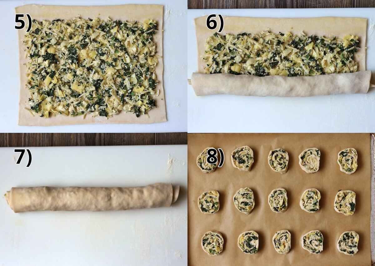 step by step photos assembling puff pastry pinwheels