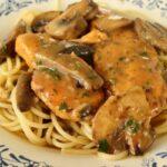 chicken marsala with spaghetti