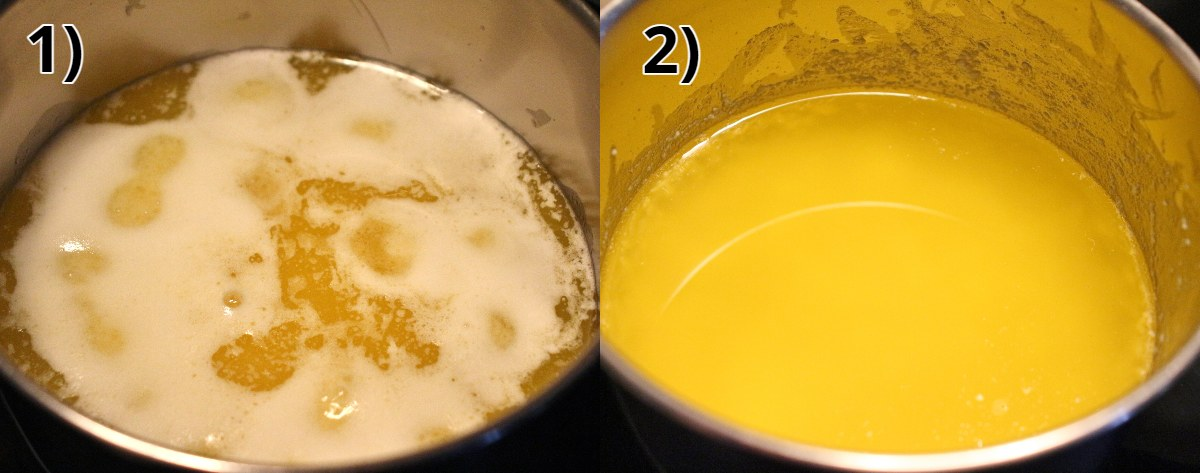 Step-by-step photos of making clarified butter in a saucepan.