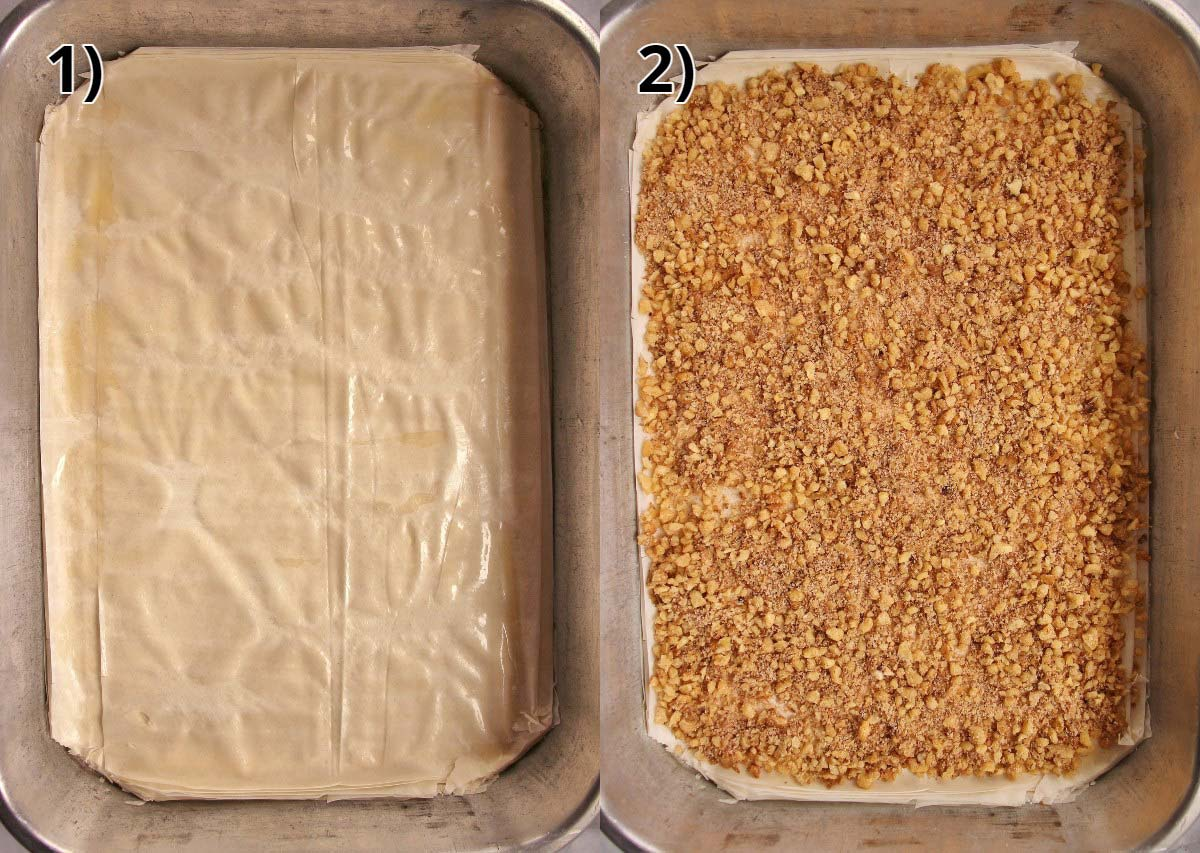 Step-by-step photos of assembling phyllo dough in a pan and topping with chopped walnuts.