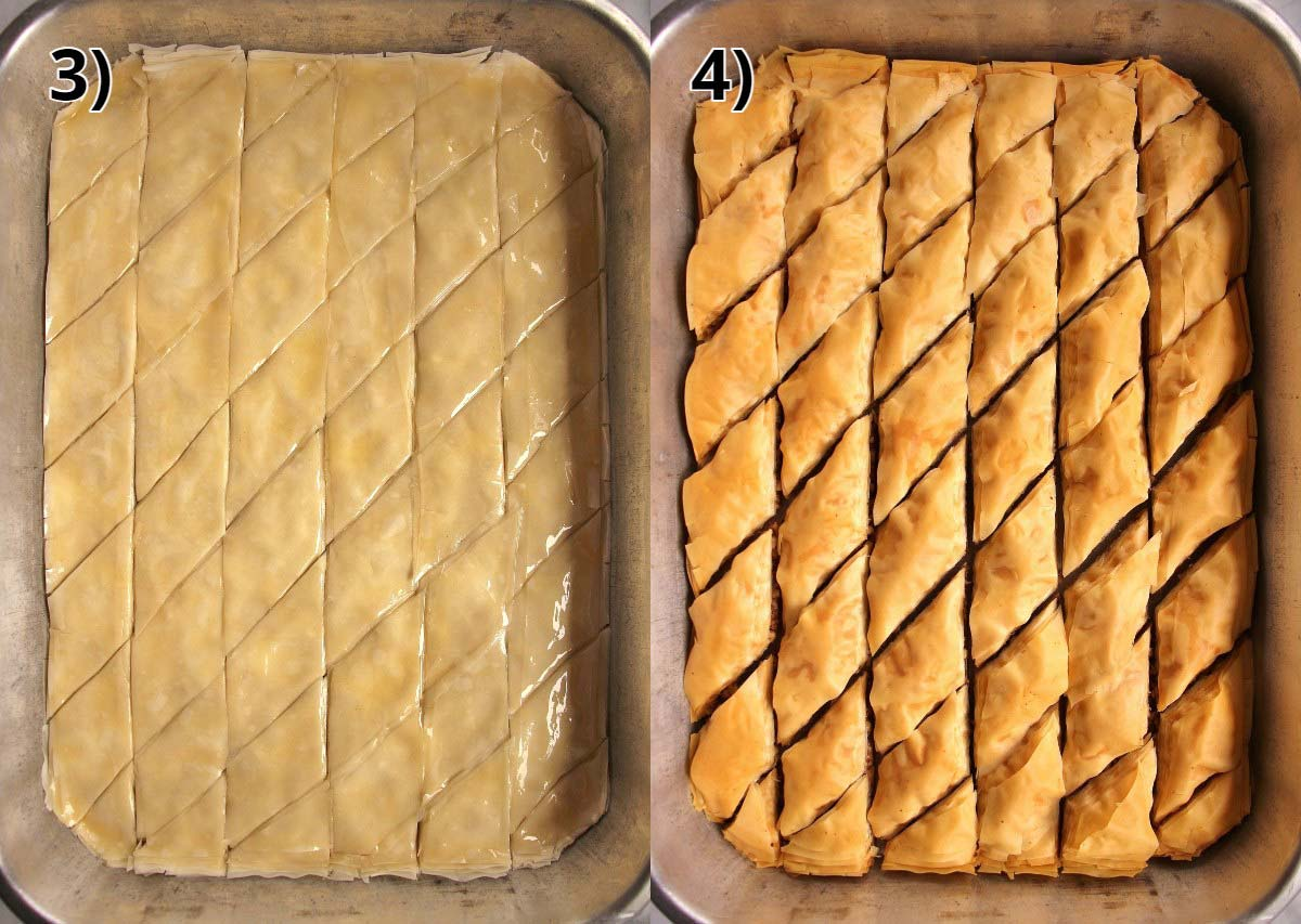 A tray of Armenian paklava before and after baking.