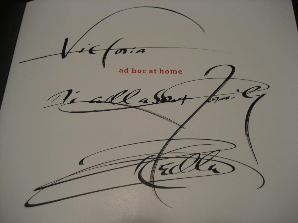 the inside of a cookbook signed by Thomas Keller