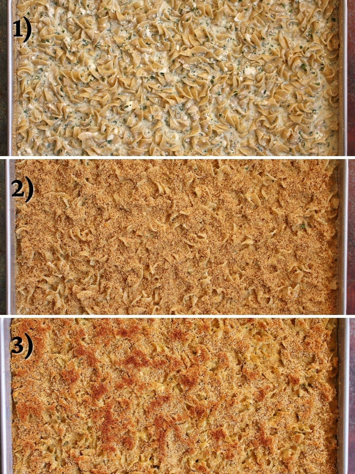 3 step-by-step photos of assembling Armenian macaroni and cheese before and after baking.