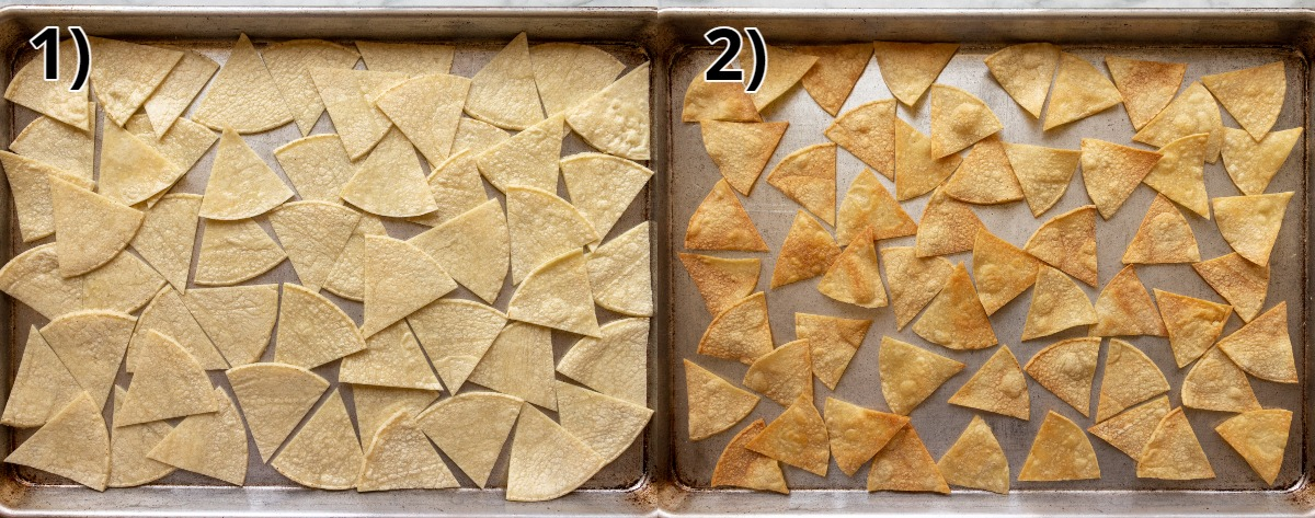 Before and after photos of making baked tortilla chips on a sheet pan.
