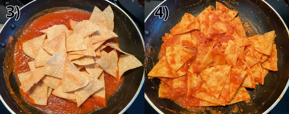 Before and after photos of adding tortilla chips to a skillet of red salsa.
