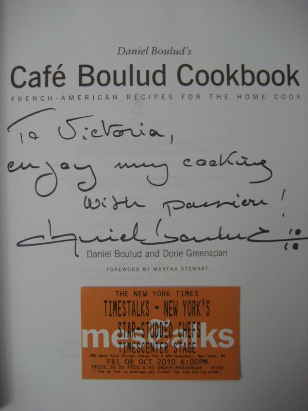 the inside of a cookbook signed by Daniel Boulud