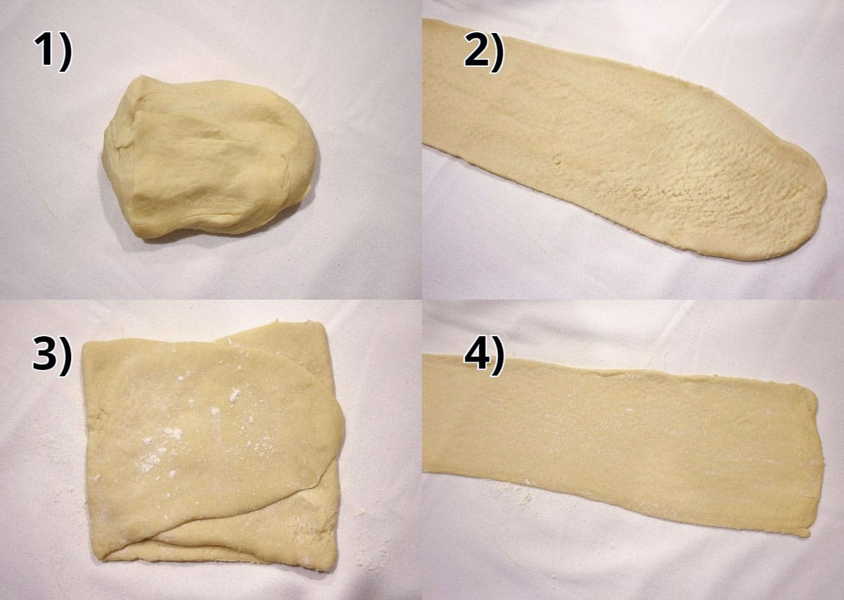 Step-by-step photos of dough rolled through a pasta roller to flatten into sheets.