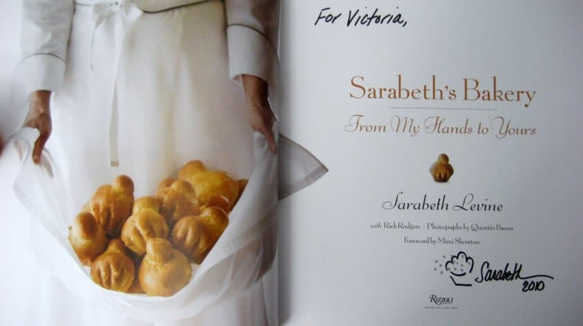 the inside of a signed cookbook called Sarabeth\'s Bakery
