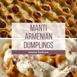 Manti (Armenian dumplings with yogurt sauce) in a wide bowl with blue decorations