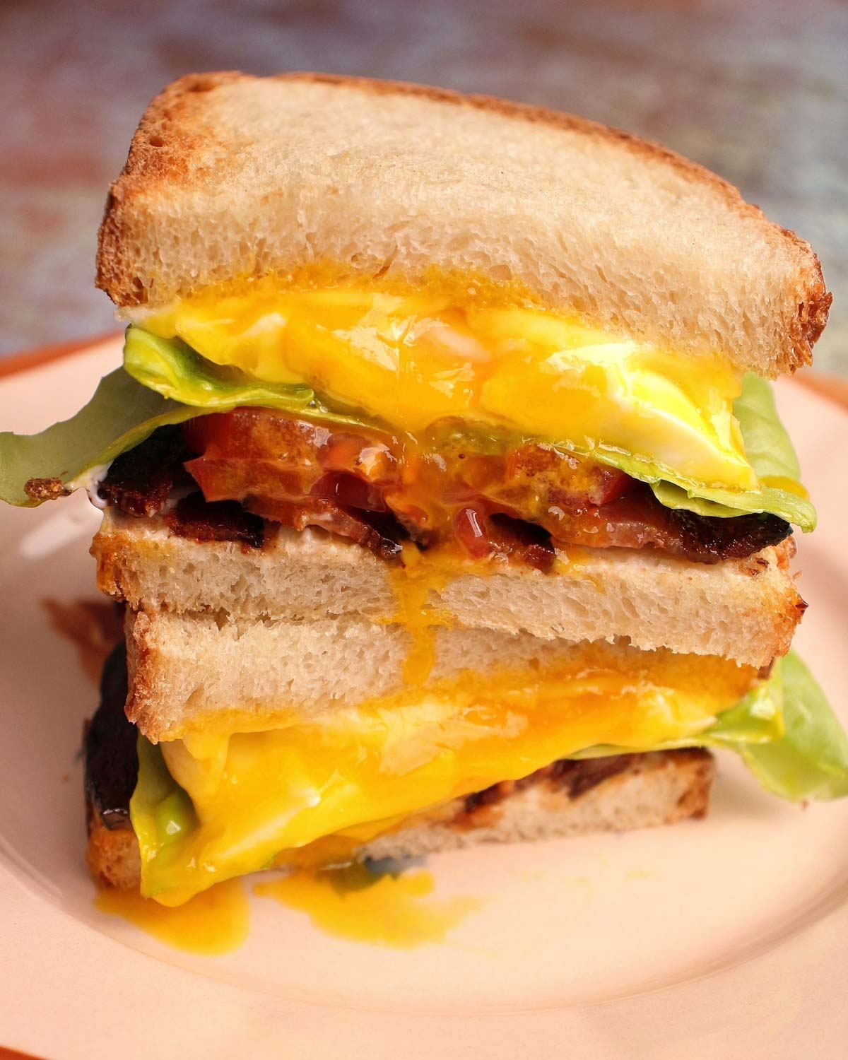 Two halves of a Spanglish sandwich piled on top of each other on a plate.