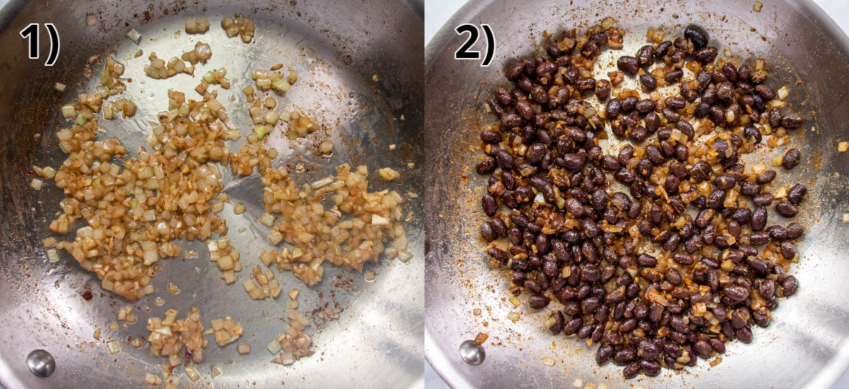 Step-by-step photos of cooking onions in a skillet and adding black beans.