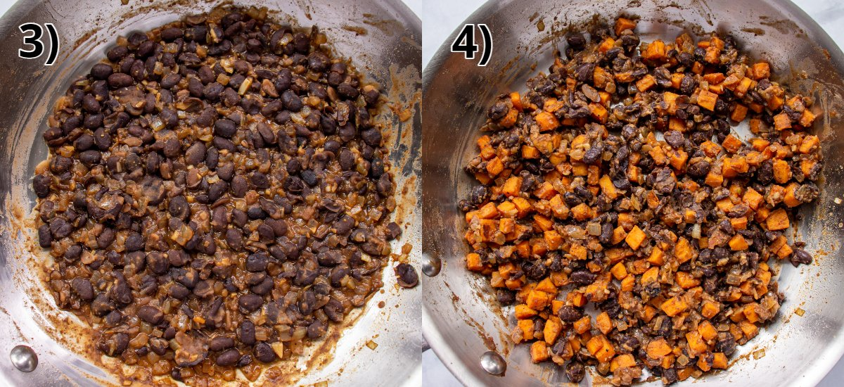 Step-by-step photos of cooked black beans in a skillet with sweet potato added.