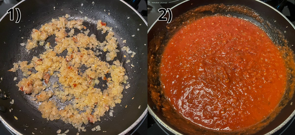 Step-by-step photos of cooking aromatics and adding tomato sauce.