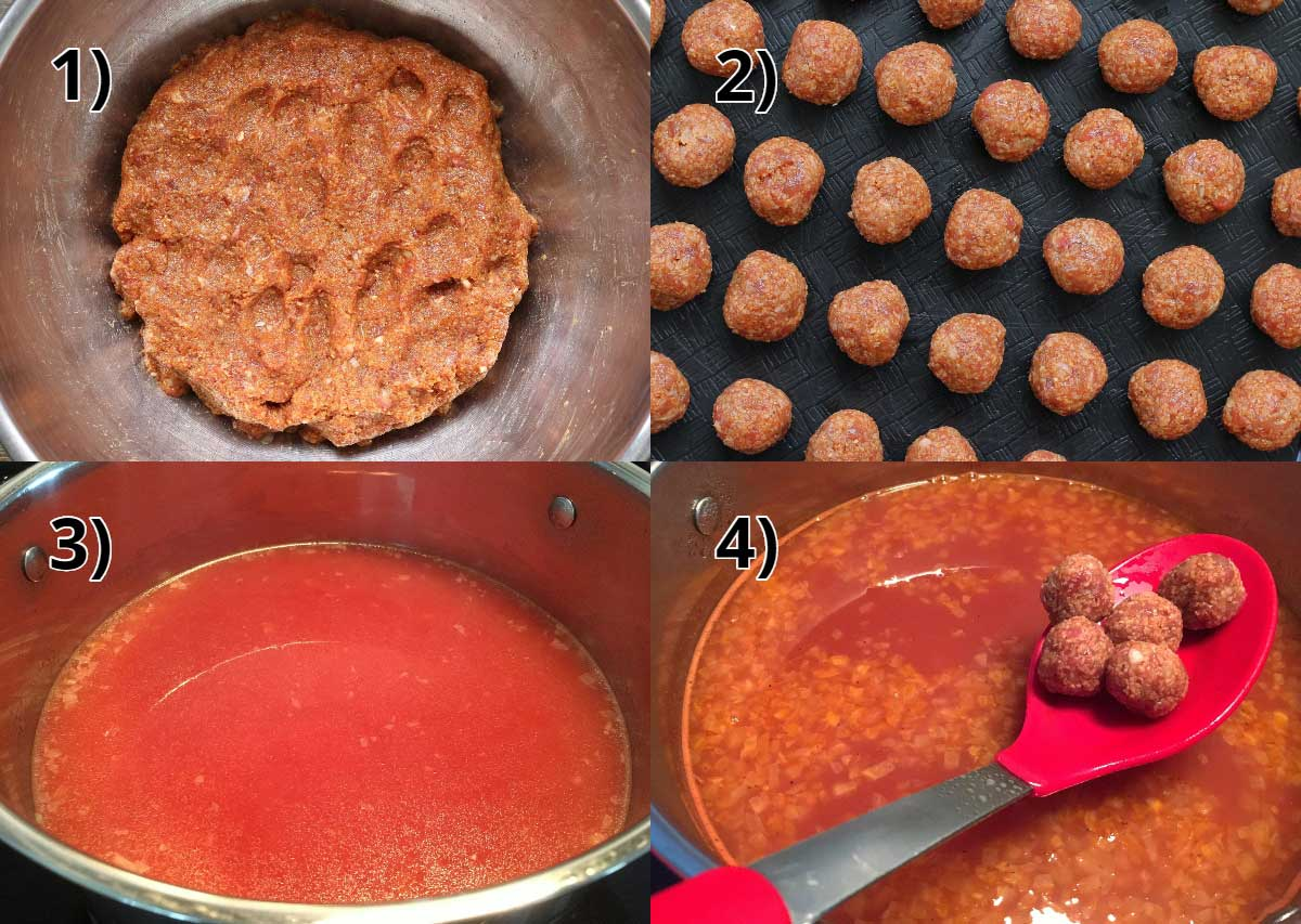 Step-by-step photos of making Armenian meatball soup in a tomato broth.