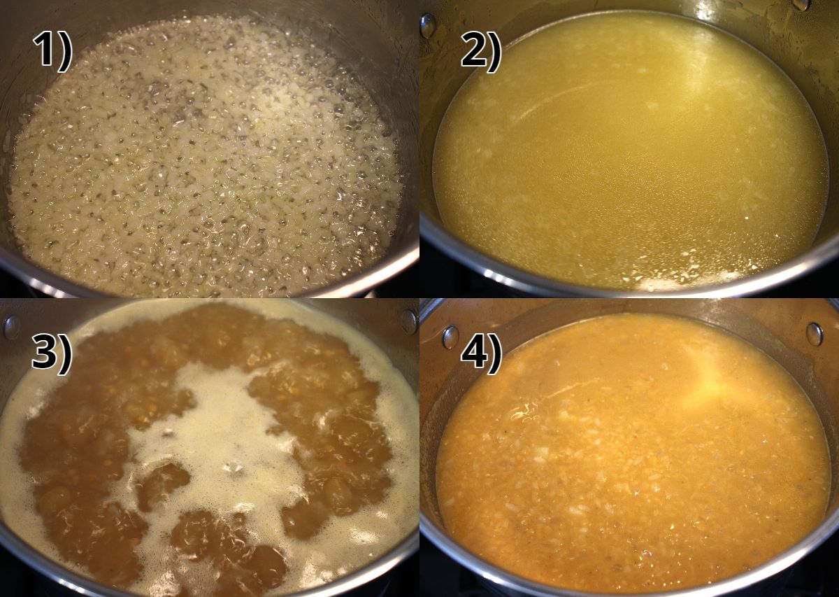 Step-by-step photos of how to make lentil soup with potatoes.
