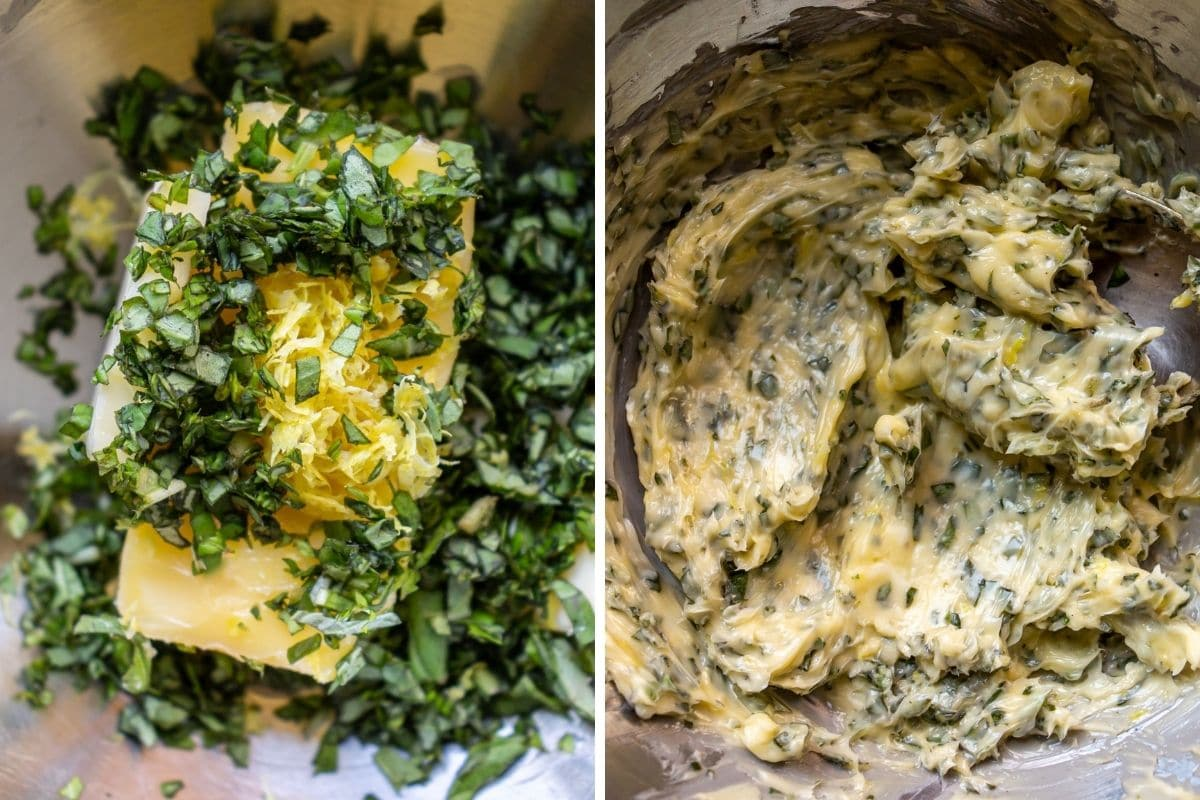 Lemon herb butter before and after being mixed in a metal bowl.