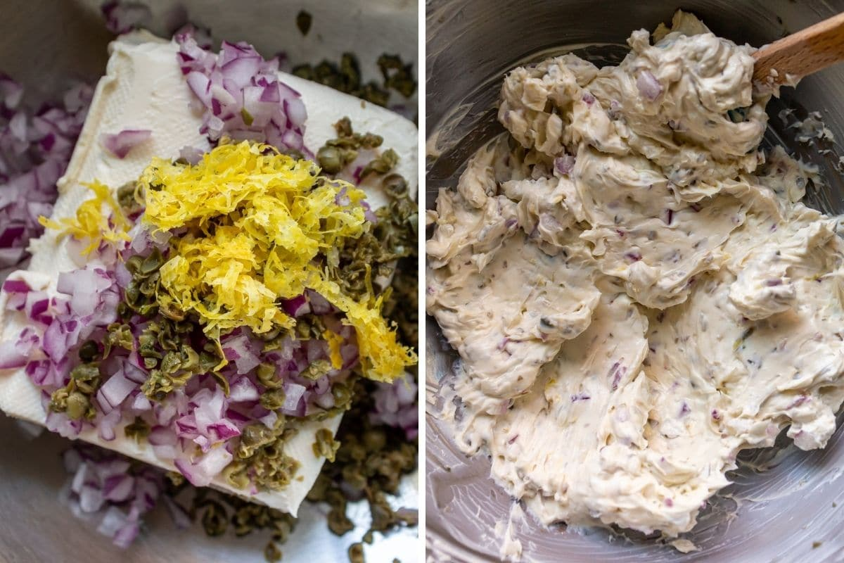 Before and after photos of mixing onion caper cream cheese in a metal bowl.