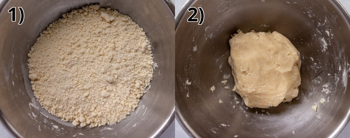 Before and after photos of making a soft short dough in a metal bowl.