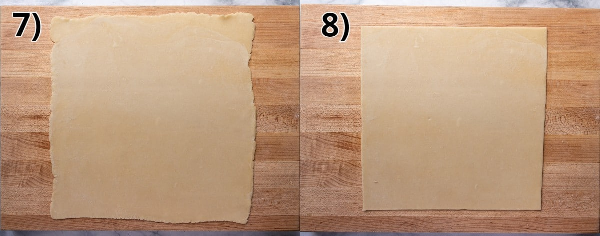 Step by step photos of trimming a square of dough on a wooden surface.