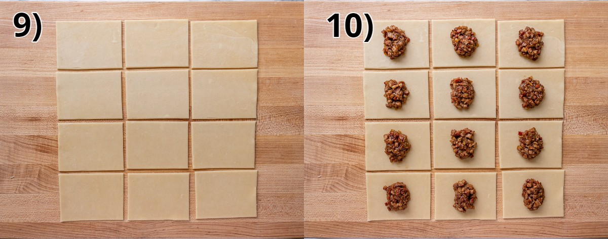 A square of dough cut into 12 rectangles, each topped with pork filling.