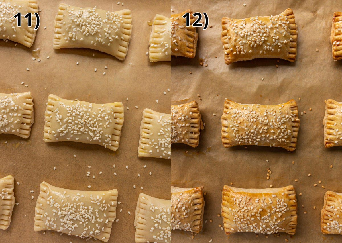 Chinese roast pork pastry puffs before and after baking.