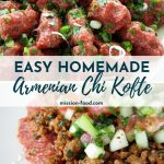 Armenian steak tartare (chi kofte) arranged on a platter and topped with chopped parsley and scallions