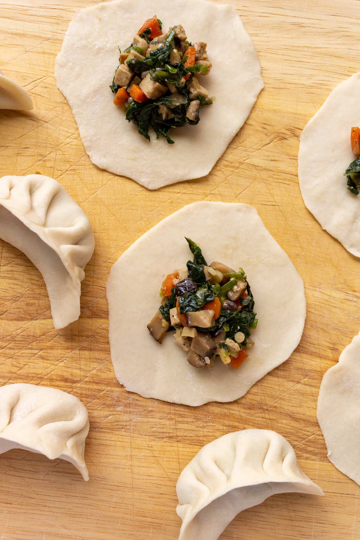 Flat circles of dough topped with veggie filling, and a few pleated dumplings.
