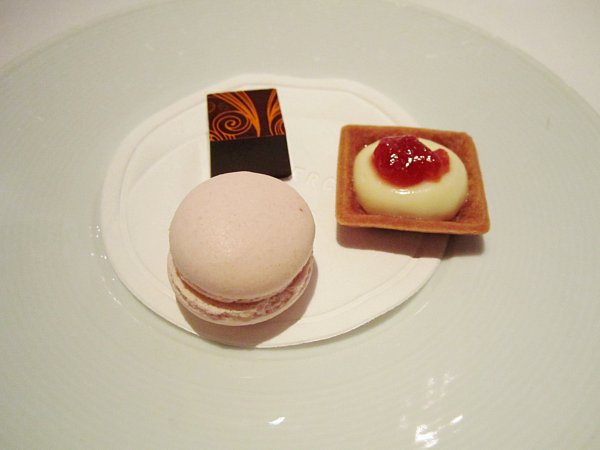 a macaron cookie, square chocolate, and small square tart on a white plate