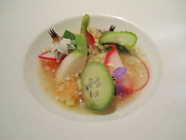 sliced cucumbers and radishes in a small white dish with clear sauce