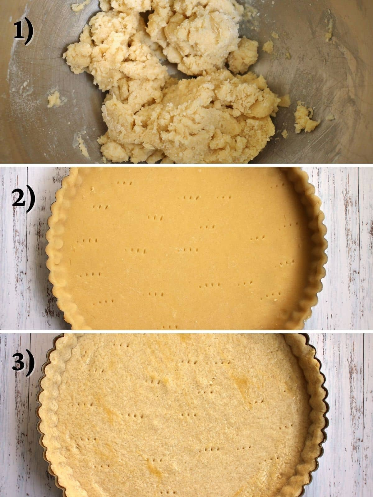 Tart dough in a metal bowl, and in a tart pan before and after baking.