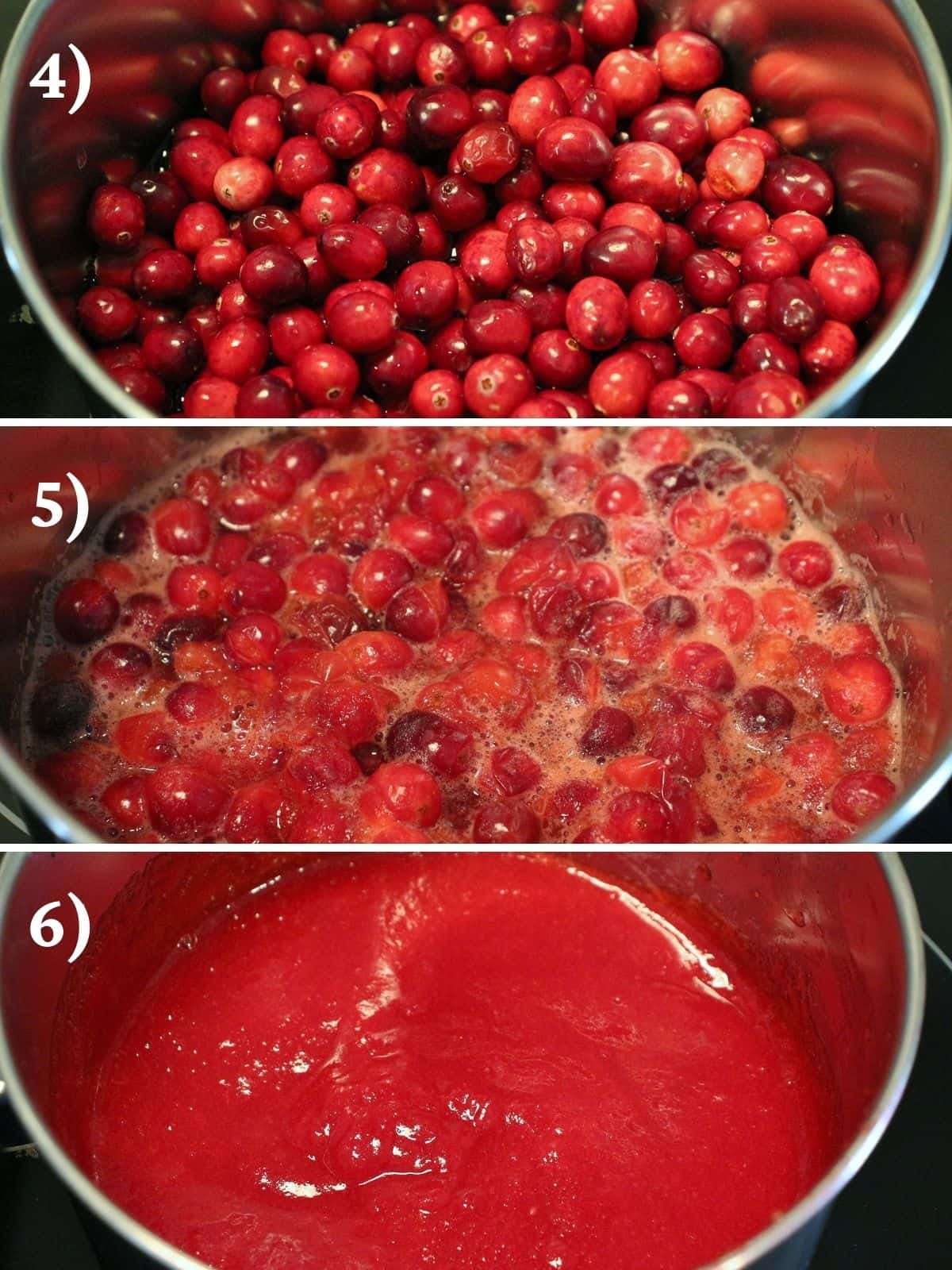 Step by step photos of cooking cranberries in a saucepan for cranberry curd.