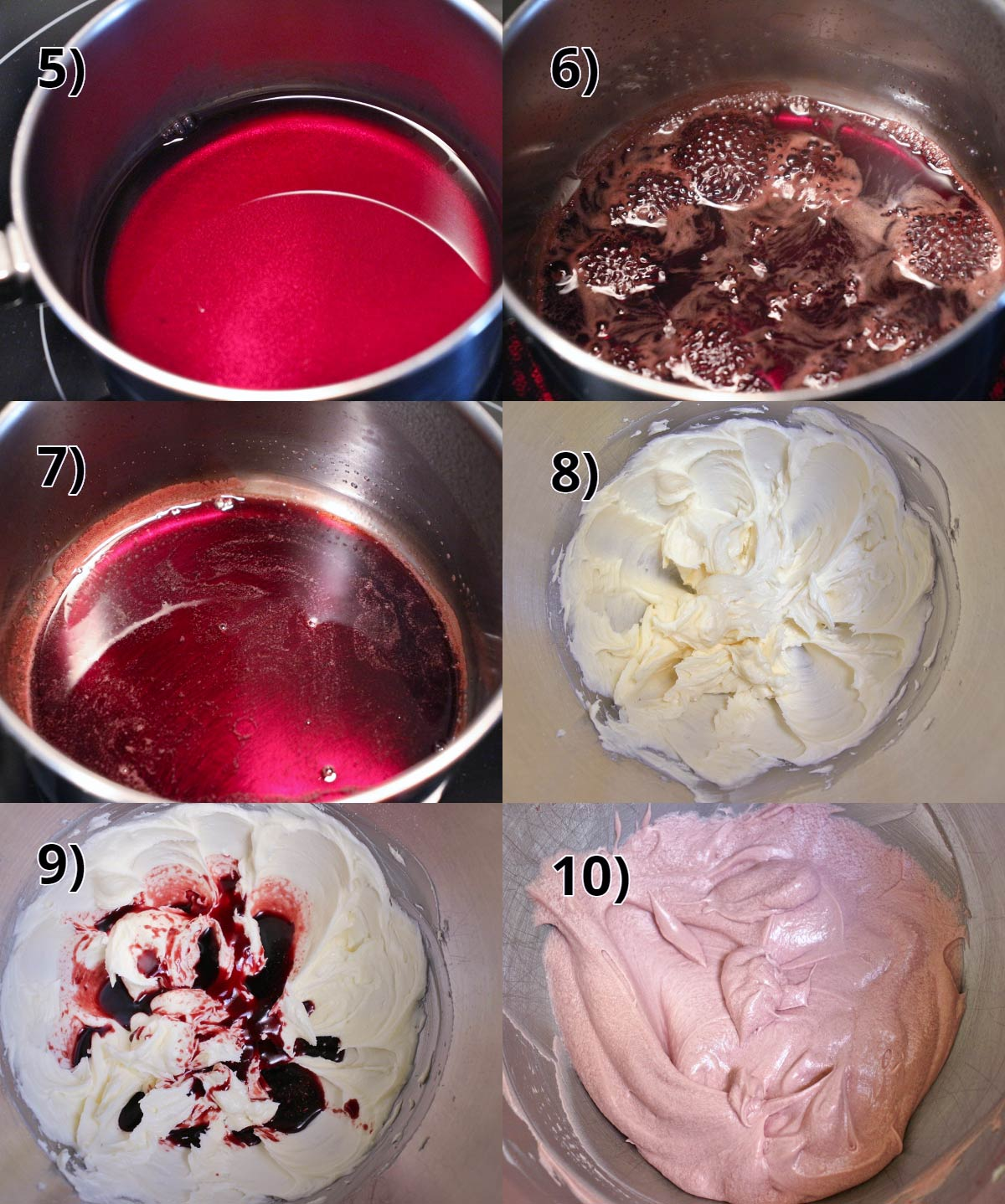 step by step photo of how to make red wine buttercream frosting