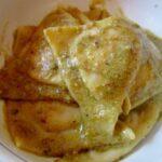 mortadella tortelli with pistachio pesto