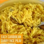A fork scooping up some curried citrus rice in a bowl