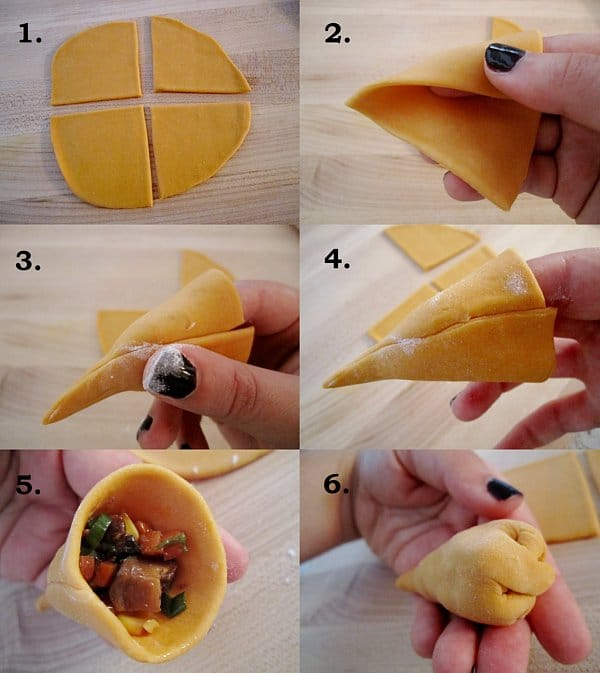 step by step photos of how to assemble carrot dumplings