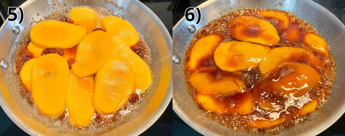 Sliced mangos cooking in caramel in a stainless steel frying pan.