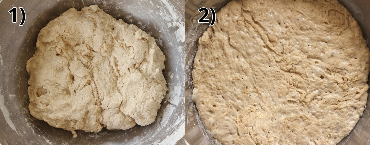 before and after photos of pizza dough proofing