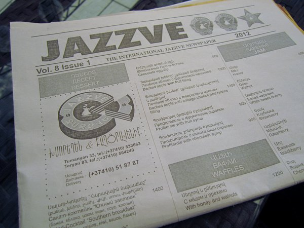 A close up of a newspaper that says Jazzve at the top