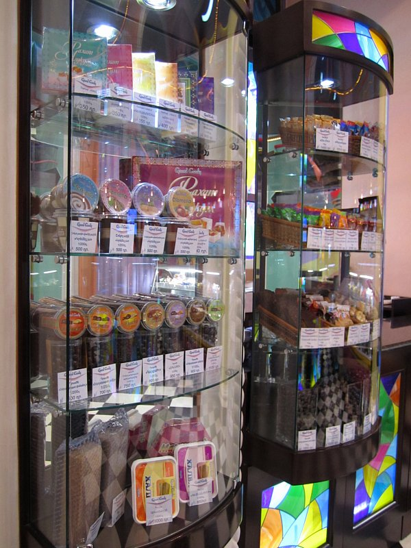 A store display filled with various types of chocolates