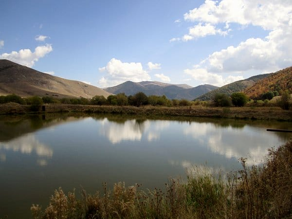 A serene pond with a mountain in the background