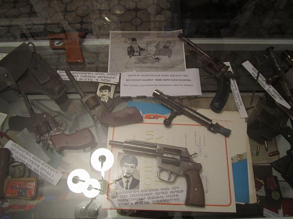 A variety of weapons in a museum exhibit