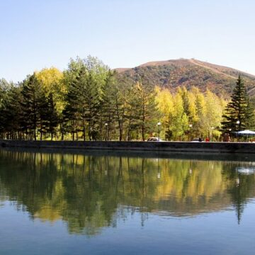 a still lake with trees and mountains in the background