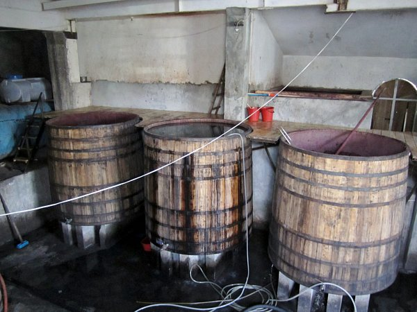 large wooden barrels being filled with wine