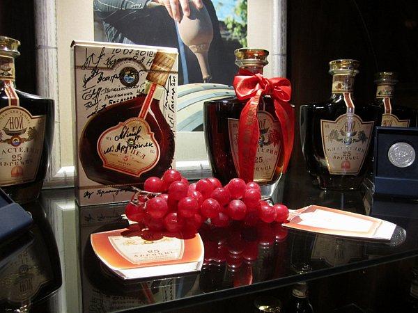 bottles of Armenian brandy on a table