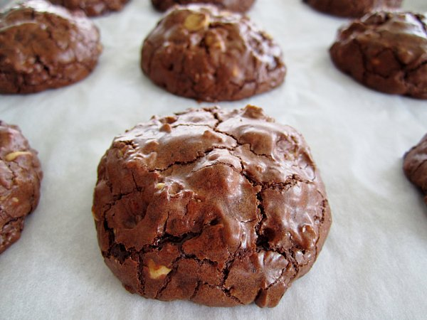 a closeup of chocolate cookies on a parchment paper lined baking sheet