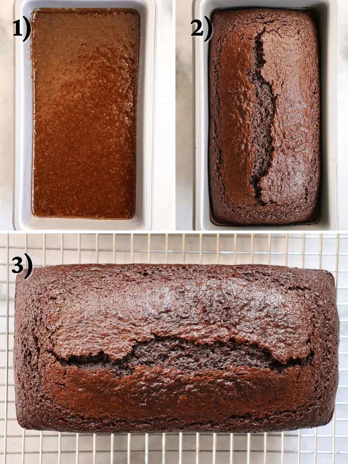 A loaf of French gingerbread before and after baking, and cooking on a wire rack.