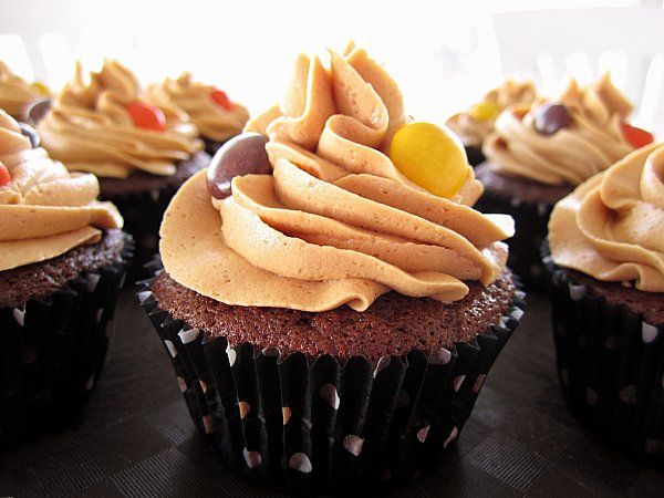 closeup side view of a chocolate cupcake with peanut butter frosting and Reese\'s Pieces candies