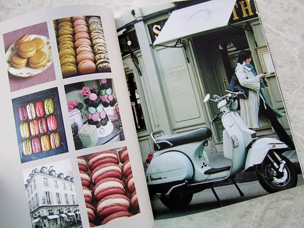 a variety of photos of French macaron cookies plus a scooter on a street