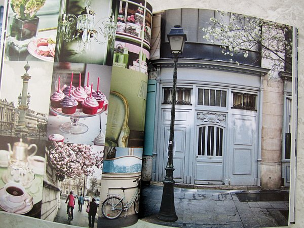 images from inside a cookbook of various locations in Paris and sweet desserts